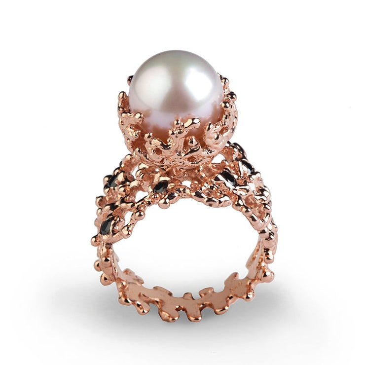 Coral White Pearl Black Diamond Rose Gold Ring