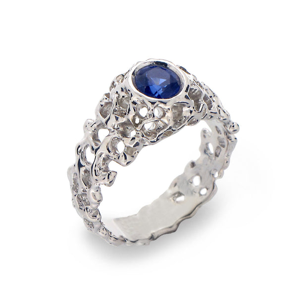 Coral Blue Sapphire Solitaire Ring