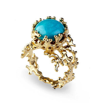 Coral Turquoise Gold Ring