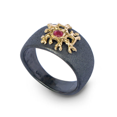 Coral Ruby Black and Gold Ring