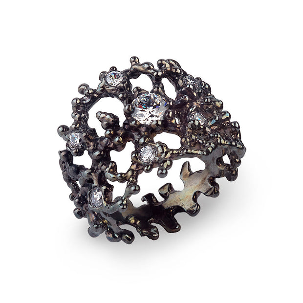 Coral Cubic Zirconia CZ Black Band Ring