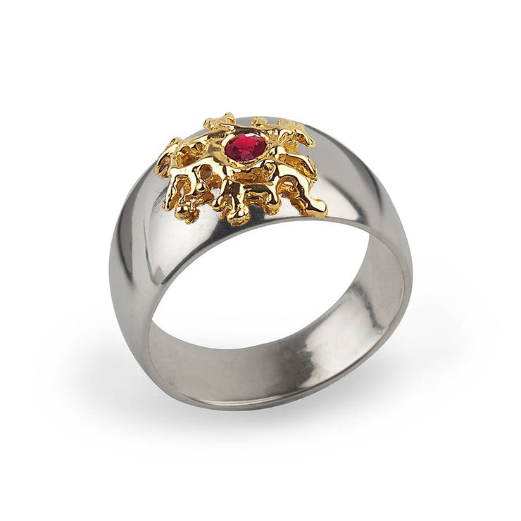 Coral Ruby Silver and Gold Band Ring
