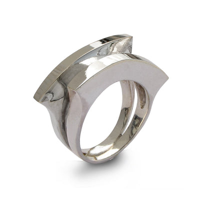 Double Moon Silver Ring