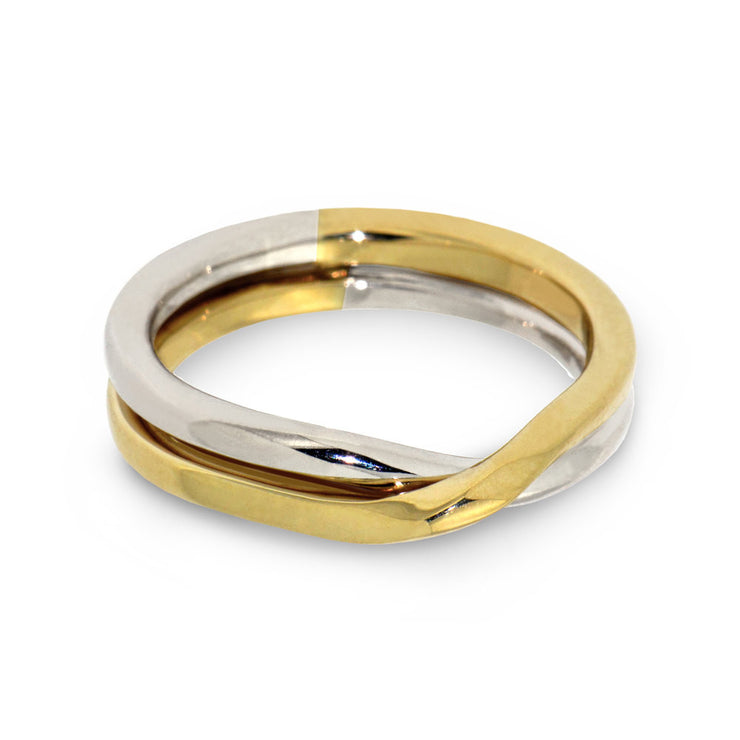 Love Knot Yellow and White Gold Wedding Band Ring
