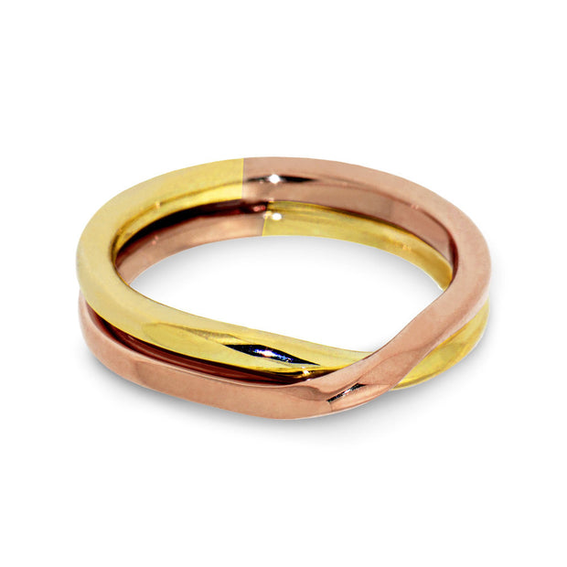 Love Knot Rose and Yellow Gold Wedding Band