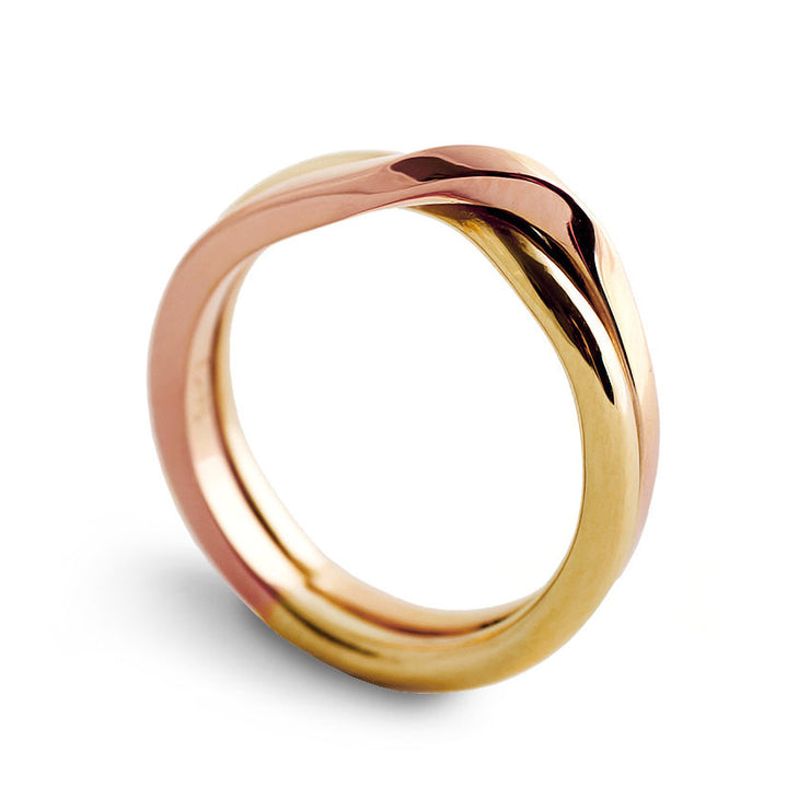 Love Knot Rose and Yellow Gold Wedding Band Ring