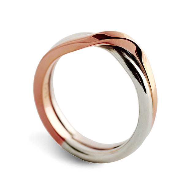 Love Knot Rose and White Gold Wedding Band