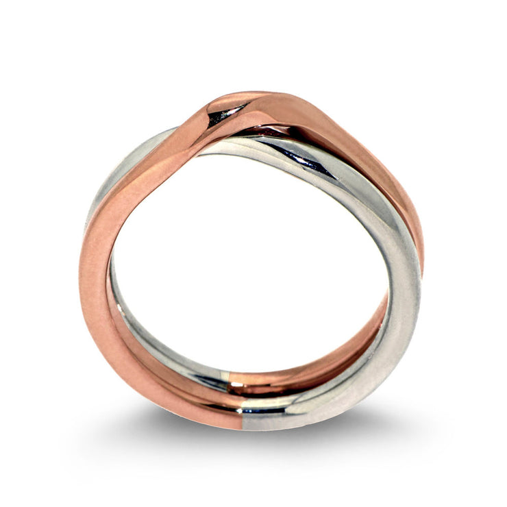 Love Knot Rose and White Gold Wedding Band Ring