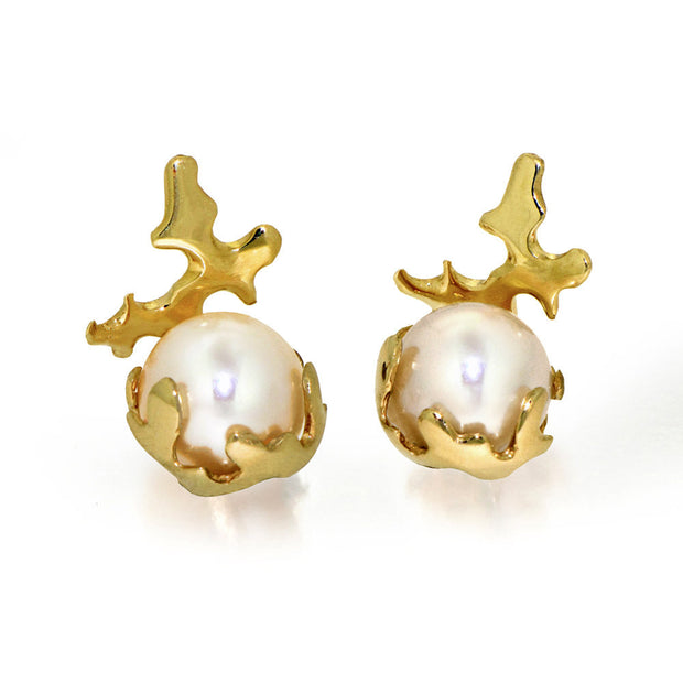 Coral Pearl Gold Earrings