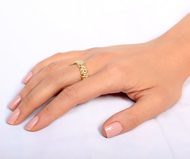 Coral Gold Plated Wedding Band Ring