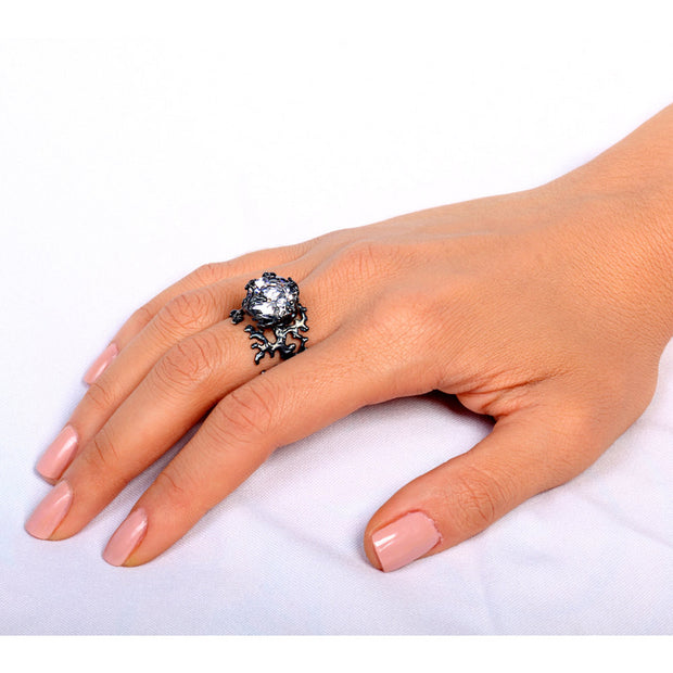 Coral Cubic Zirconia CZ Black Ring