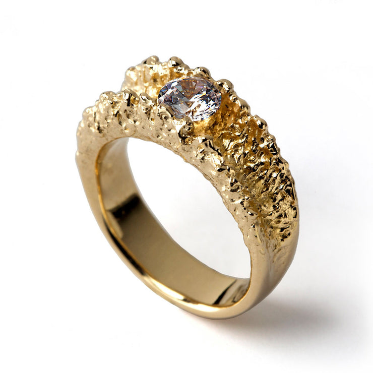 Surf Cubic Zirconia CZ Gold Ring