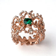 Coral Emerald Rose Gold Band Ring