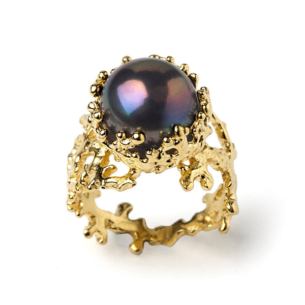 Coral Black Pearl Gold Ring