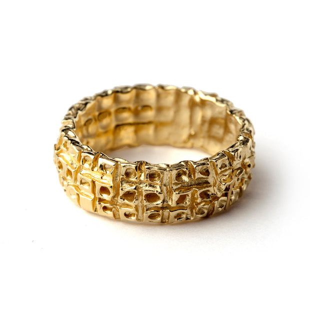 Honeycomb Gold Band Ring