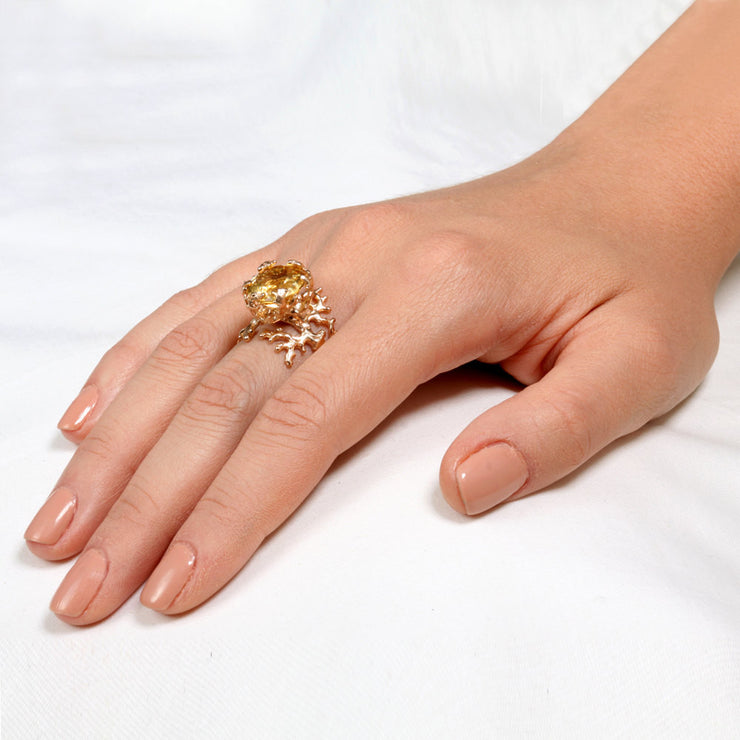 Coral Citrine Rose Gold Ring
