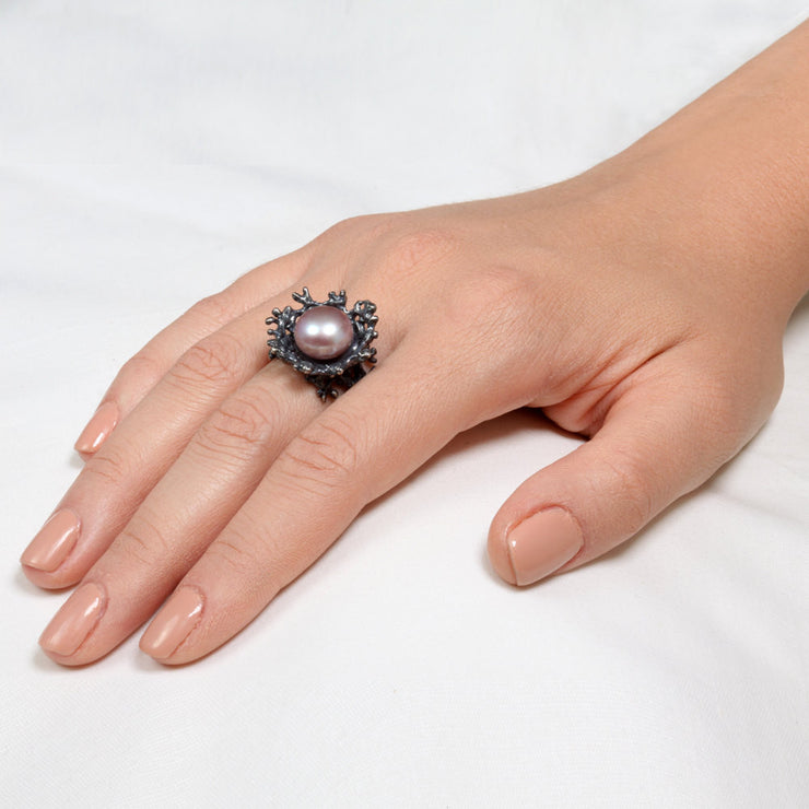 Coral Flower Black Pearl Gold Ring