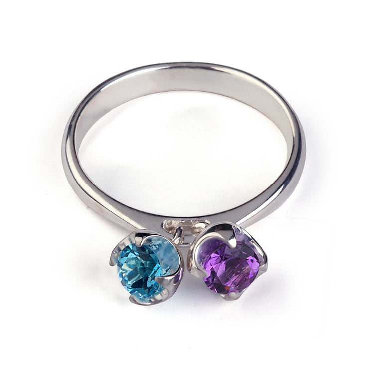 Charms Amethyst and Blue Topaz Ring