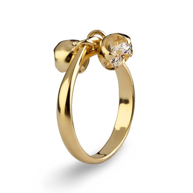 Charms Gold CZ Engagement Ring Mother's Ring