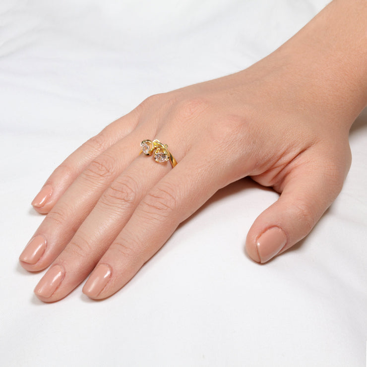 Charms Gold CZ Engagement Ring Mother's Ring on hand
