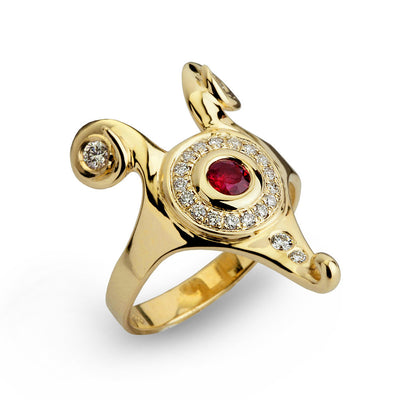 arosha taglia Hathor Diamond and Ruby Gold Ring Egyptian jewelry