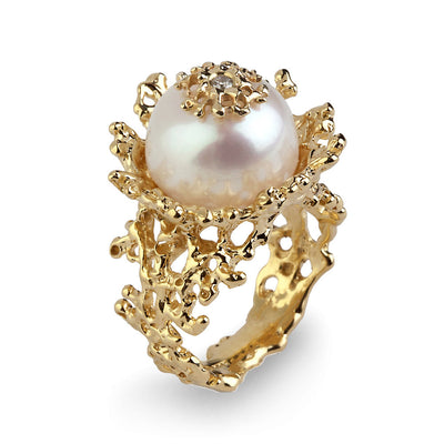 Coral Flower Pearl Diamond Gold Ring