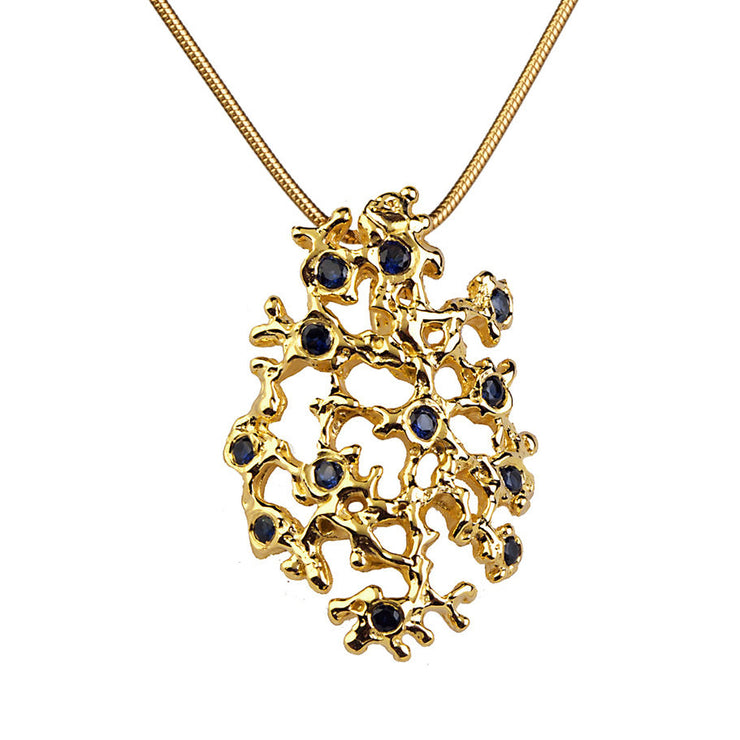 Sea Spray Sapphire Gold Pendant Necklace