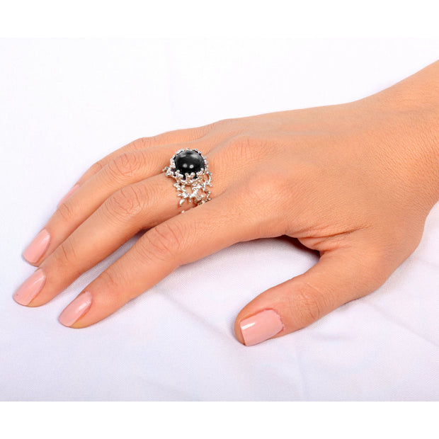 Coral Onyx Ring