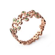 Lace Emerald Rose Gold Wedding Band