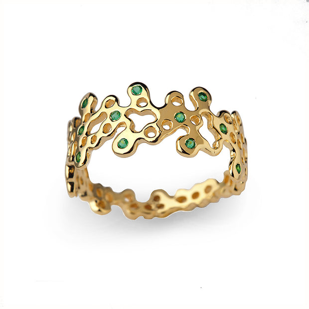Lace Emerald Gold Wedding Band