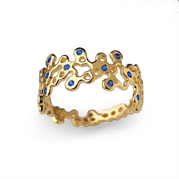 Lace Blue Sapphire Gold Wedding Band