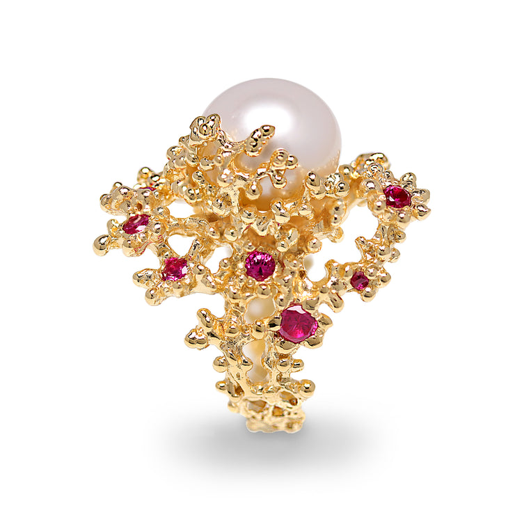Coral Ruby Pearl Gold Ring