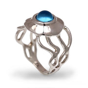 Medusa Jellyfish Swiss Blue Topaz Ring
