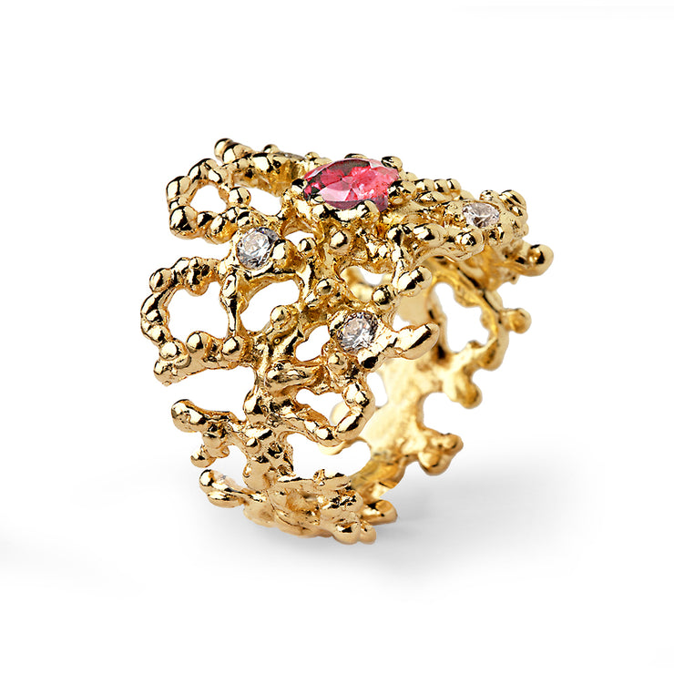 Coral Pink Tourmaline Gold Band Ring