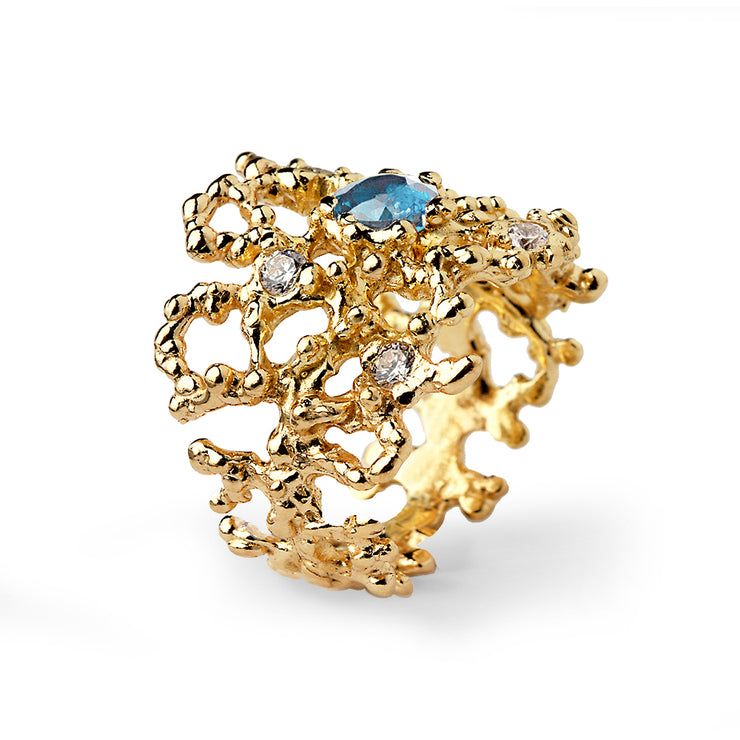 Coral Blue Topaz Gold Band Ring