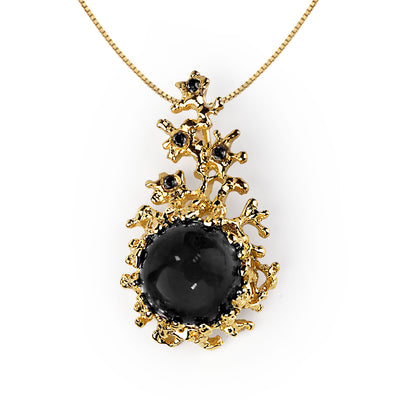 Coral Gold Onyx CZ Pendant Necklace