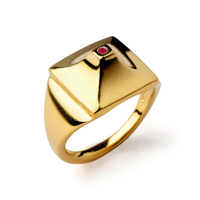 Pyramid Ruby Gold Ring