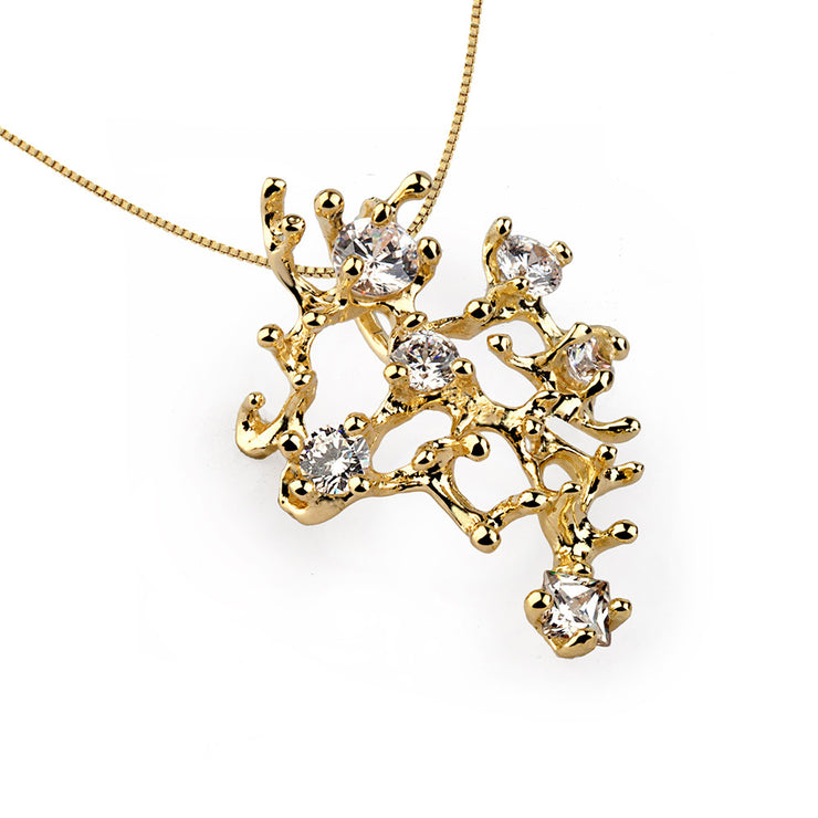Coral Reef Gold Cubic Zirconia CZ Necklace Pendant