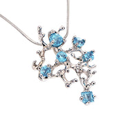 Coral Reef Blue Topaz Pendant Necklace