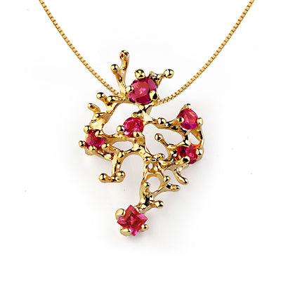 Coral Reef Ruby Gold Pendant Necklace