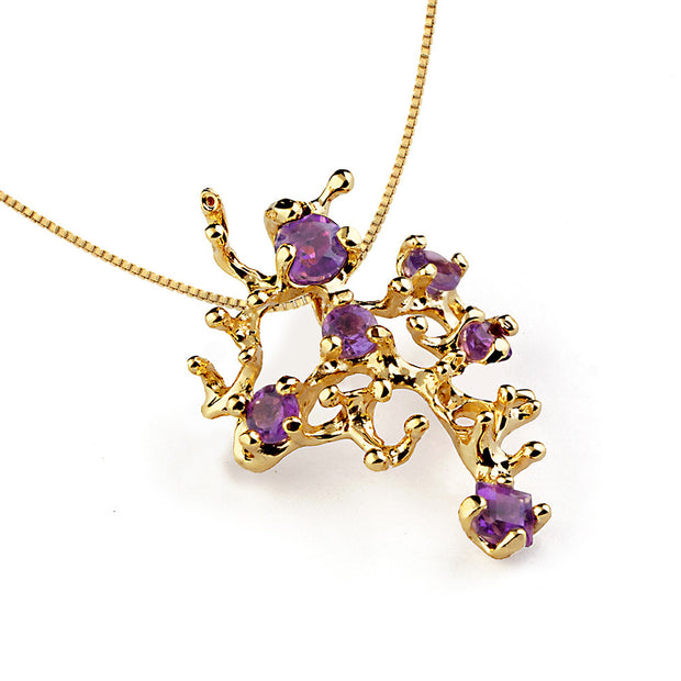 Coral Reef Amethyst Gold Pendant Necklace