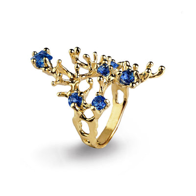 Reef Blue Sapphire Gold Ring