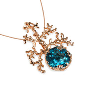 Coral London Blue Topaz Rose Gold Pendant Necklace
