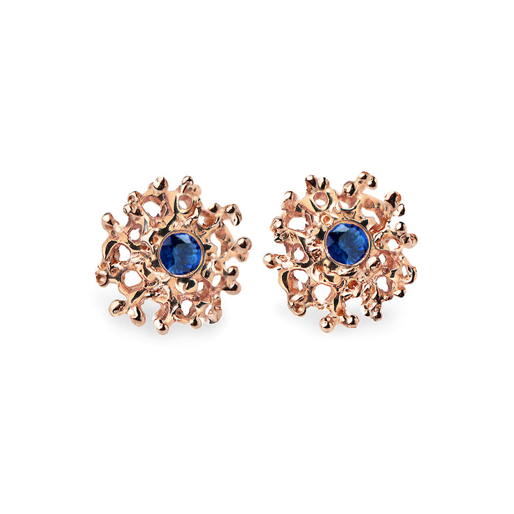 Coral Sapphire Rose Gold Earrings