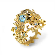 Coral Seashell Gold Swiss Blue Topaz Ring