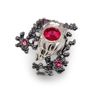 Coral Starfish Seashell Ruby Ring