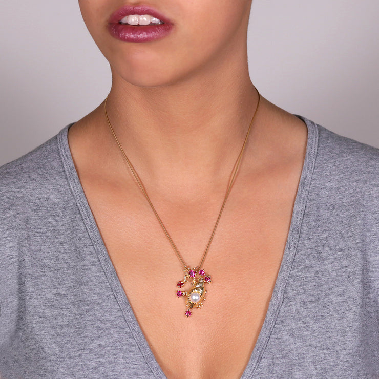 Coral Reef Sea Shell Ruby Pearl Gold Pendant Necklace