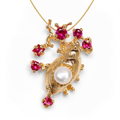 Coral Reef Shell Ruby Pearl Gold Pendant Necklace