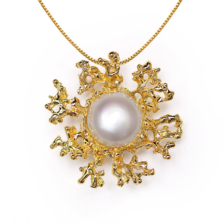 Coral Flower Pearl Gold Pendant Necklace