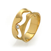 Wave Gold Wedding Band Ring